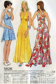 A playful halter neckline adds flair to jumpsuits and dresses alike on this page from the May 1973 Simplicity pattern book. #1970s #trend