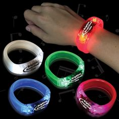 Soundsation Light Up L.E.D. Bangle Bracelets/Come in red, pink, white, blue and green. Batteries included. Beat to the sound of the music. $2.50 ea./Windy City Novelities