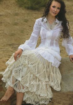 Lace Decor Skirt free crochet graph pattern