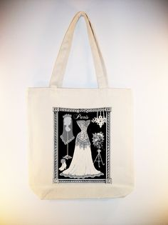 Paris Bridal Wedding Gown Dress Form Vintage Collage Tote - larger zipper top tote style and personalizaiton available - IMAGE IN ANY COLOR