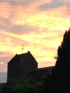 Sunset at an English village church