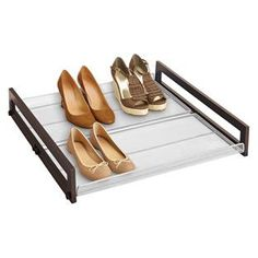 Walnut Sliding Underbed Shoe Organizer | The Container Store