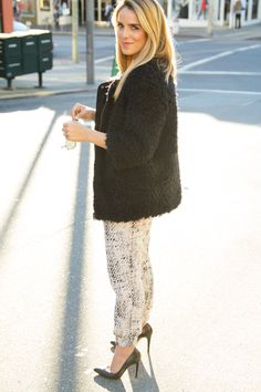 Printed Pants & fuzzy coat - Gal meets Glam