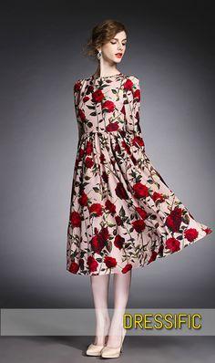 Vintage Retro Floral Print Red Formal Dress