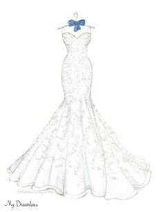 Dreamlines wedding dress sketch given as a wedding day gift to the bride, wedding gift, bridal shower gift and one year anniversary gift. www.mydreamlines.com #weddinggift #anniversarygift #weddinggiftfromgroom