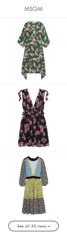 """MSGM"" by shoppings9 ❤ liked on Polyvore featuring dresses, forest green, forest green dress, silk print dress, green silk dress, mixed pattern dress, msgm dress, msgm, black and watercolor floral dress"