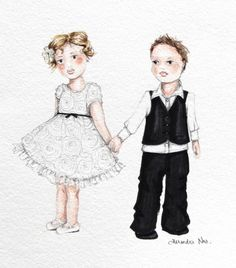 Cute as a button flower girl and page boy