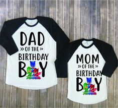 Mom and Dad of birthday boy- PJ Mask version, Pj mask birthday, Pj mask family shirt, pj mask party, pj mask theme, pj mask mom, pj mask dad by JADEandPAIIGE on Etsy https://www.etsy.com/listing/584115945/mom-and-dad-of-birthday-boy-pj-mask