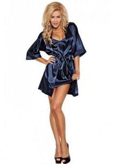 Атласный женский халатик Satyn 90 dark blue