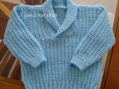 Blusão infantil de tricô com gola smoking para meninos