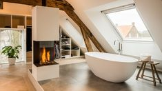 Converting an old farm into a warm industrial farmhouse with big view on an old brick wall, original wooden beams and the beautiful area around the farmhouse. Architecture Renovation, Barn Renovation, Big Bathtub, Modern Family House, Old Brick Wall, Industrial Farmhouse, Warm Industrial, Attic Conversion, Old Bricks