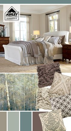 Love the overall soft look for the bedroom! Burkesville Upholstered Bed -by Ashley Furniture- Bedroom Colors, Bedroom Decor, Master Bedroom, Paint Colors For Home, Upholstered Beds, Natural Colors, Soft Colors, My Dream Home, Decor Styles