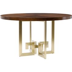 Belle Meade Signature Alyssa Satin Brass & Wood Dining Table ($2,185) ❤ liked on Polyvore featuring home, furniture, tables, dining tables, wood dining table, modern dining table, modern home furniture, mod furniture and wooden table