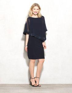 Sequin Chiffon Overlay Dress