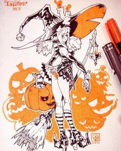 #Halloween #Sorcière #Dessin poch4n #Manga