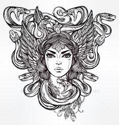 Mythological Medusa Portriat Illustration. — JPG Image #drawing #fantasy • Available here → https://graphicriver.net/item/mythological-medusa-portriat-illustration/13795705?ref=pxcr