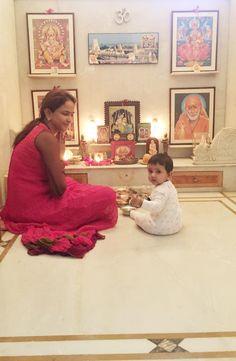 Mandir in house Room Interior, Home Interior Design, Interior Ideas, Temple Room, Mandir Design, Pooja Mandir, Pooja Room Door Design, Home Altar, Temple Design