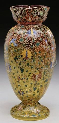 Moser Glass; Vase, Amberina, Courtier Figure, Enamel Flowers, Butterflies & Insects, 13 inch.