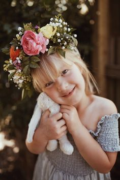 Myla VonBlanckensee photo by Tessa Cheetham #flowers #flowercrowns #colours #photography #photoshoot #photos #portrait #afternoon #outdoors #nature #teddies #bunnies #smiling #smiles