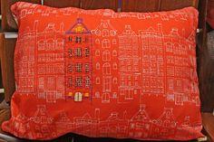 pillow in Dutch Houses fabric by Blue Jacaranda