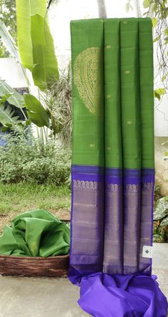 This borderless kanchivaram silk is in emerald green with small gold zari bhuttas all over and one large bhutta towards the border area. The pallu is in indigo blue that is intricately woven with g…