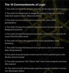 The 10 commandments of logical discussion