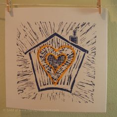 house of love, navy on white with orange over print hearts, lino print card Auburn, Hearts, Bloom, Printing, Orange, Navy, House, Hale Navy, Home
