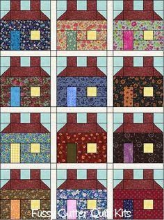 Scrappy Fabric Prim Americana Primitive School House Salt Box Pre-Cut Quilt Blocks Top Kit House Quilt Patterns, House Quilt Block, Quilt Blocks, Scrappy Quilts, Mini Quilts, Paper Piecing, Quilting Projects, Quilting Designs, Cot Quilt