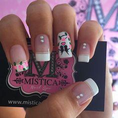 Cute Nail Art, Cute Nails, Pretty Nails, Pink Nails, Glitter Nails, Crazy Nails, Diy Nail Designs, French Tip Nails, Flower Nails