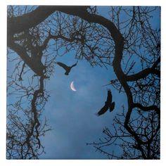 Raven, Oak Tree and Crescent Moon Art Tile Size: Large. Gender: unisex. Age Group: adult. Purple Aesthetic Background, Aesthetic Backgrounds, Night Vibes, Oak Tree, Moon Art, Tile Art, Small World, Homescreen, Raven
