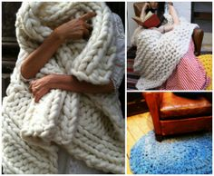 Free Patterns: Loopy Mango Big Loop Yarn shows you how to make these big chunky throws