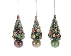 """These Christmas tree ornaments are just so cute Add a little sparkle to your retro or Shabby Chic holiday decor. Vintage look green sisal trees are """"frosted"""" with white snow and have pretty sparkly shiny brite type ornaments. Unique Christmas Trees, Holiday Tree, Christmas Tree Ornaments, Vintage Christmas, Christmas Decorations, Holiday Decor, Christmas Stuff, Christmas Ideas, Beaded Ornaments"""
