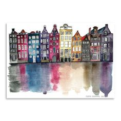 Amsterdam Painting Print on Wrapped Canvas #watercolorarts