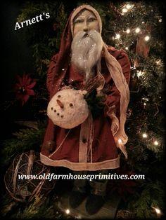 #JC14-9 Arnett's Primitive Santa In Red W/ Snowball NEW 2016 (Made In USA)