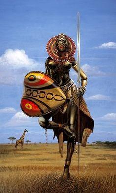African Warrior Woman by GaiaFly African Culture, African History, Art Conceptual, Art Afro, Character Art, Character Design, Afrique Art, Arte Tribal, Tribal Art