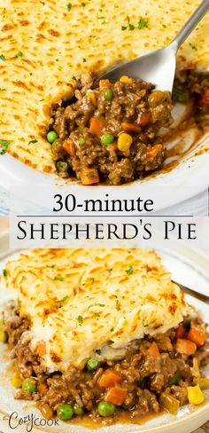 This Easy Shepherd's Pie Recipe is the BEST way to get dinner on the table fast and a great way to use up leftover mashed potatoes! Casserole Recipes, Meat Recipes, Dinner Recipes, Cooking Recipes, Healthy Recipes, Recipes Using Hamburger, Hamburger Freezer Meals, Dinner Ideas, Lunches