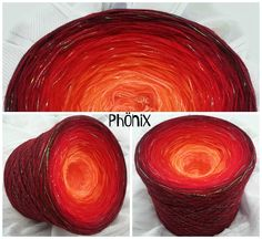 Phönix: Hochbauschacryl 3 fädig + Lurex Irise durchgehend 6 Farben: mandarin orange rot karminrot weinrot marone