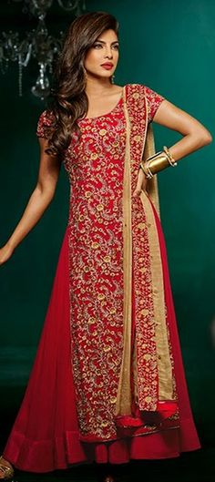 420986, Bollywood Salwar Kameez, Faux Georgette, Stone, Zari, Resham, Red and Maroon Color Family
