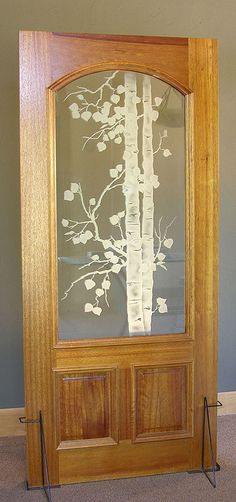 frosted glass front doors for homes | etched aspen tree panel in mahogany door this thermalpaned door