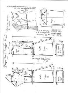 Casaco três em um | DIY - molde, corte e costura - Marlene Mukai Dress Sewing Patterns, Clothing Patterns, Pattern Sewing, Costura Fashion, Calligraphy For Beginners, E 38, Pattern Drafting, Sewing Tools, Jacket Pattern