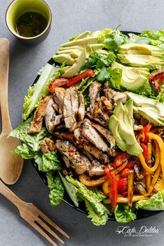 Grilled Chilli Lime Chicken Fajita Salad - Cafe Delites