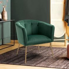 Living Room Green, Accent Chairs For Living Room, Green Rooms, Living Room Decor, Bloomfield Homes, Green Accent Chair, Velvet Armchair, Side Chairs, Master Bedroom