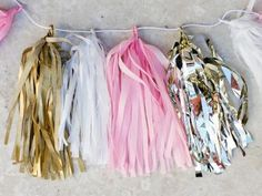 How to make Tissue Paper Tassel Garland (pink and gold)
