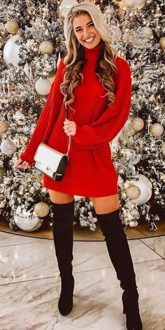 10 vestidos y faldas con botas largas perfectos para Navidad y Año Nuevo   Mujer de 10 Christmas Fashion Outfits, Holiday Outfits Women, Christmas Party Outfits, Holiday Fashion, Christmas Clothes, Winter Clothes, Cocktail Party Outfit, Beautiful Outfits, Cute Outfits