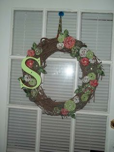 Initial Wreath with fabric flowers