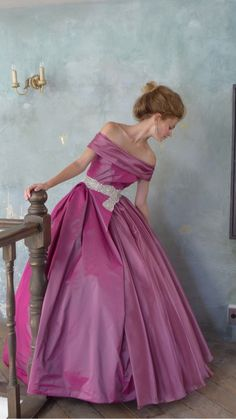 Ball Gown | Pink Ball Gown looking for long white gloves and a choker.
