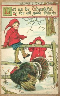 Vintage Digital Download Thanksgiving Children with Turkey Image