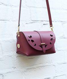 Large Leather Cutout Barrel Bag Bordeaux Red Bag by ARTonomousgr