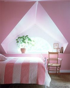 Pale-Pink Bedroom  From the palest pinks to the brightest fuchsias, find inspiration from our gallery of pink rooms.  Painted pink, a small attic room is as warm as a heart, intimate instead of encroaching.