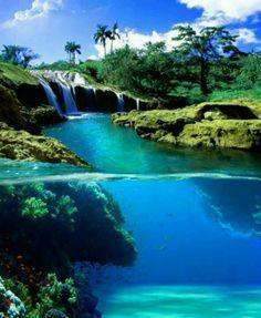 Split view of a waterfall in Hawaii